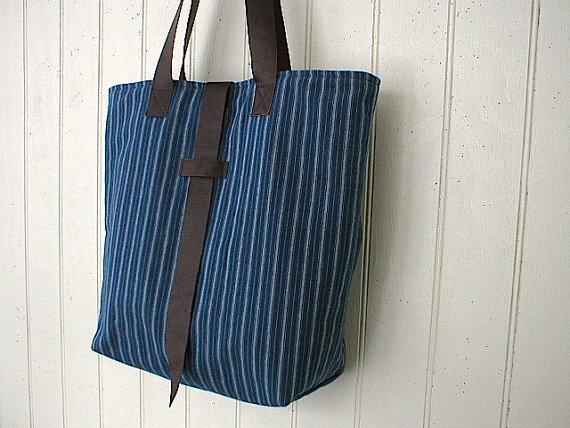 Indigo Striped Tote