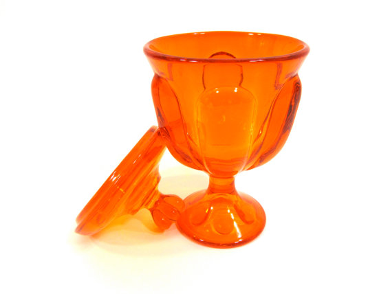 Persimmon Viking Glass Candy Dish